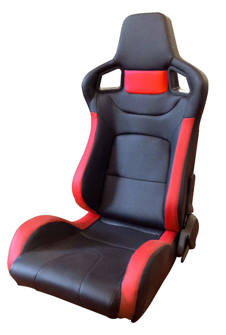 Comfortable PU Leather Sport Auto Racing Seats / Black And Red Racing Seats